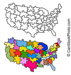 Map USA with states as a puzzle. Object over white