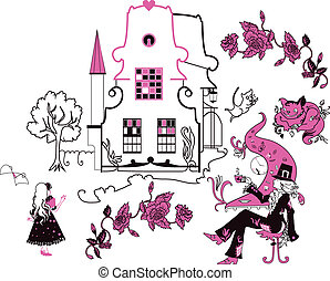 Alice in Wonderland vector illustration Set of silhouettes