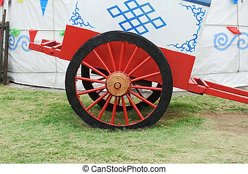 Vintage Vintage Horse Carriage wheel with mongolia yurt