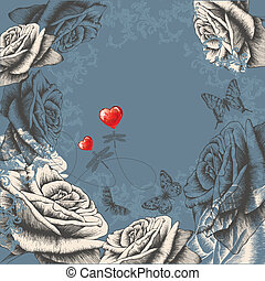 Floral background with flowering roses, flying butterflies...