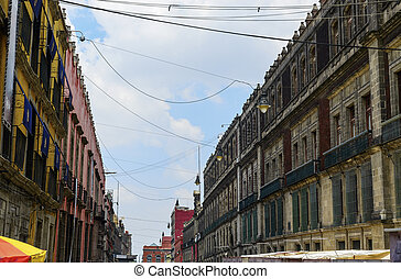 Mexico city old colonial buildings - View on the old...