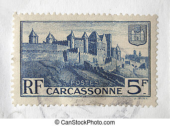 French stamp - Carcassonne - France, circa 1932 - French...