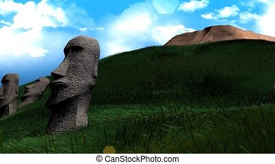 Easter island statues - Artist recreation of Easter island...
