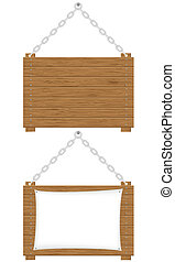 wooden boards signs vector