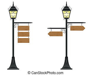 wooden boards and streetlight - wooden boards signs hanging...
