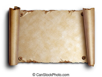 Scroll of old paper with rounded edges and nails on a white...