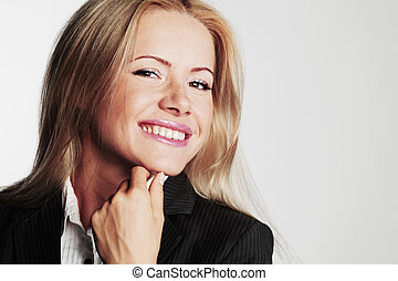 business woman on a gray background