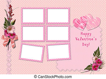 Happy Valentine's Day - Retro Photo Album. The frames with a...