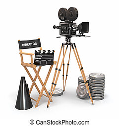 Movie composition Vintage camera, director chair and reels...