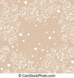 Floral background with roses and hearts