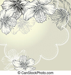 Floral background with vintage lace and flowers,...