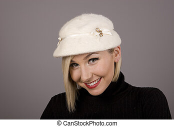 Blonde in Fur Hat and Smile