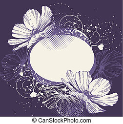 Flower background with frame and bl