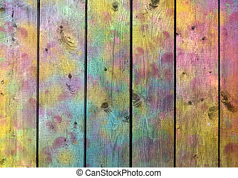 Texture of the tree with different colored spots - Rainbow...