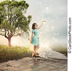 Little Girl at a Shining Brook with Stars