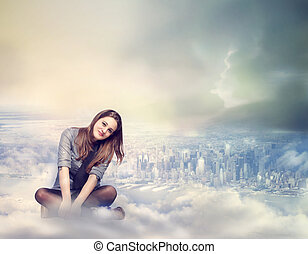 Happy Woman Sitting on the Clouds