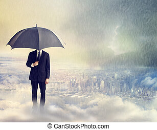 Man with Umbrella Above the City - Business Man with...
