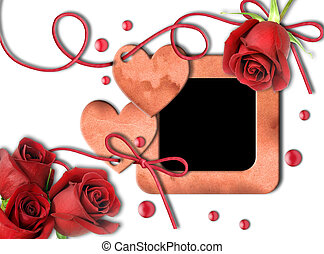 Vintage photo frame, red roses and heart on white background...