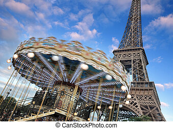 Roundabout. - Roundabout near to Eiffel tower in Paris,...
