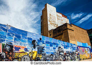 Mural in Downtown Bogota - A mural on a wall in the center...