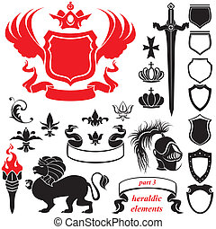 Set of heraldic silhouettes elements - icons of blazon,...