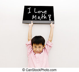 Asian boy with black board love math - Asian boy with black...