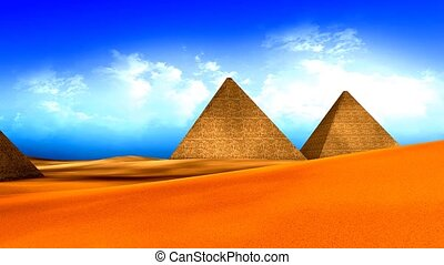 Egyptian pyramids with vivid color