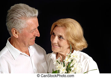 Nice old  people on the black background