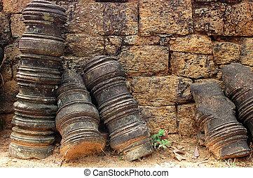 Stone art relics at Angkor, Cambodia