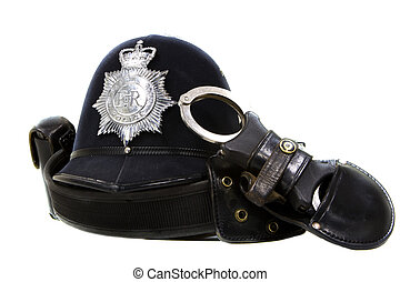 traditional british police helmet isolated on white -...