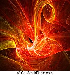 chaos fire bird - abstract fire chaos fire bird on dark...
