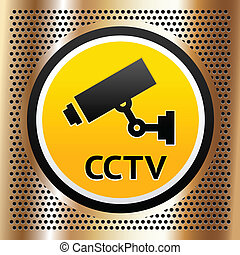 CCTV symbol on a golden background