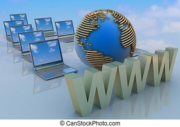 Internet concept 3d rendered illustration