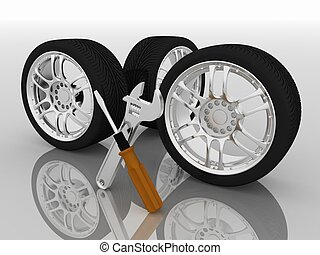 Wheels and Tools Car service Isolated 3D image