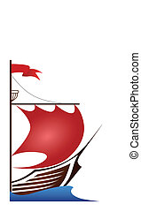 Ship (red sails) - The sailship with red sails