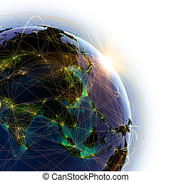 Main air routes in Asia - Highly detailed planet Earth on a...