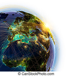 Main air routes in Europe - Highly detailed planet Earth on...