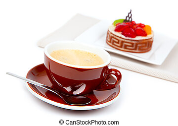 cup coffee with cake, on white background