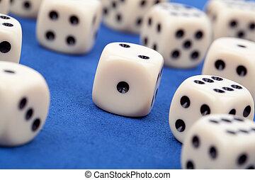 gambling dices on blue background