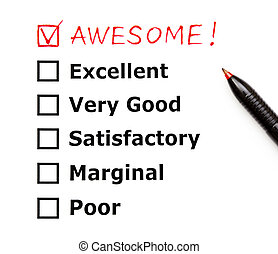 Awesome customer evaluation form - Awesome added on top of...