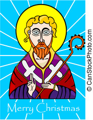 Saint Nicholas - Icon of the Holy drawn in the style of the...