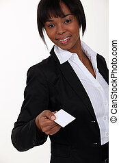 Businesswoman holding out card