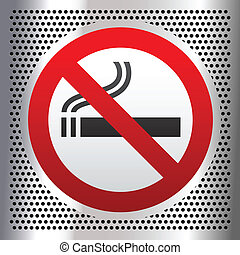 No smoking symbol on a chromium background