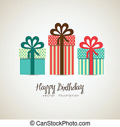 Illustration of gift boxes, made with patterns, vector...