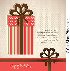 Illustration of gift box, made with patterns, vector...