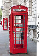 Two Red Telephone Booths, London, England, UK