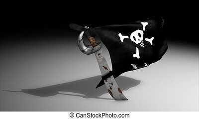 Pirate flag - 3d animation, pirate flag, alpha channel...