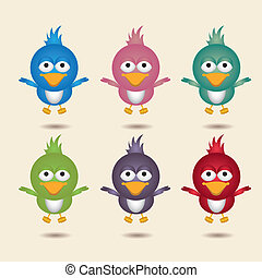 illustration of cute bird flying, in differents colors,...