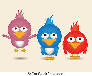 illustration of cute birds,in differents positions, vector...