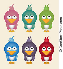 illustration of cute bird, in different colors, vector...